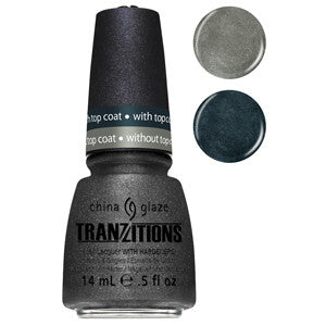 Metallic Metamorphosis China Glaze Grey Metallic Nail Varnish changes colour with Fast Forward Top Coat