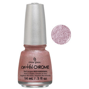 I'm A Chromatic China Glaze Baby Pink Crenckled Metal Look Nail Varnish