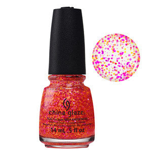 Let The Beat Drop China Glaze Warm Neon Glitter Nail Varnish