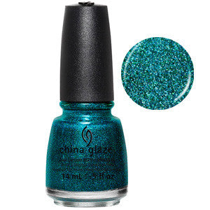 Give Me The Green Light China Glaze Blue Green Glitter Nail Varnish