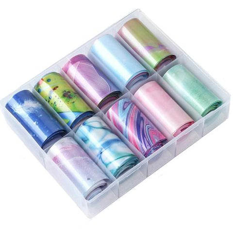 Marble Design Nail Art Foil Pack of 10 Rolls