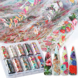 Floral Design Nail Art Foil Pack of 10 Rolls