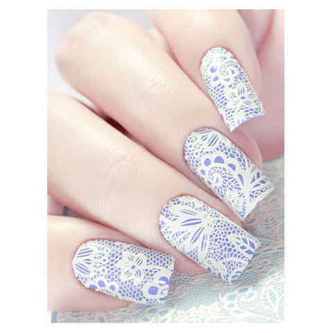 Milvart 3D White A15 Water Transfer Nail Art Decal Lace design can be used on nail varnish or gel polish