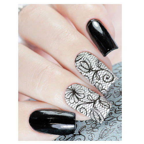 Milvart 3D Black A16 Water Transfer Nail Art Decal Lace design can be used on nail varnish or gel polish