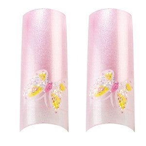 Pink Butterfly Airbrush Nail Tips in Tipcase