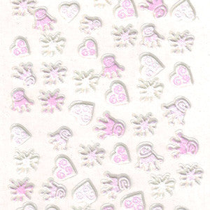 3D Nail Art Stickers Pink Hearts & Crowns