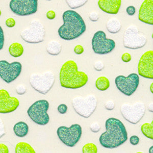 3D Nail Art Stickers Green Hearts
