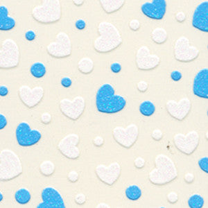 3D Nail Art Stickers Blue & White Hearts
