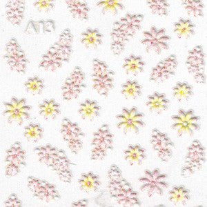3D Nail Art Stickers A13 Pink & Yellow Flowers