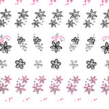 3D Glitter Nail Art Stickers 86294 Silver Glitter with Black Outline & Pink Flowers