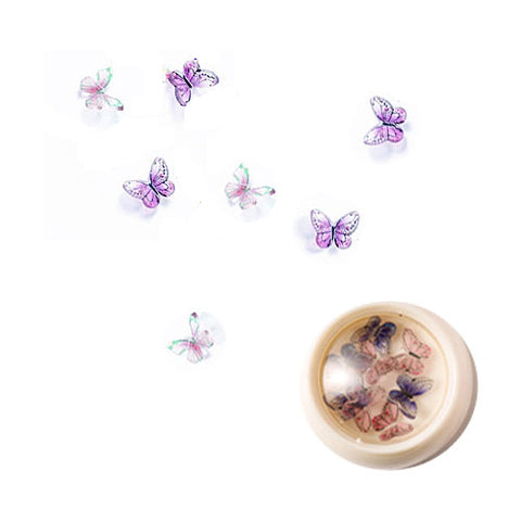 3D Crystal Resin Butterfly Nail Art - Purple and Pink
