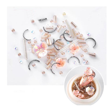 3D Pink Peach Resin Flower and Metal Nail Art
