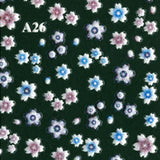 3D Nail Art Sticker A26 White Flowers with Pink & Blue