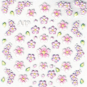 3D Nail Art Sticker A19 Pink & Lilac Flowers
