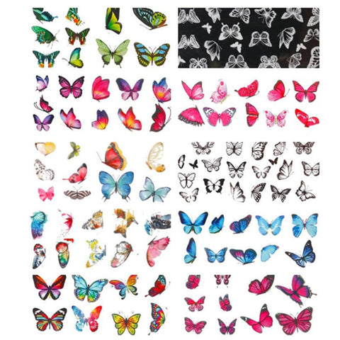 Multi-Coloured Butterfly Design Nail Art Foil Pack of 10 Rolls