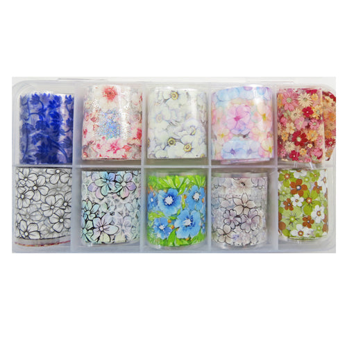 Nail Art Foil with Flowers Pack