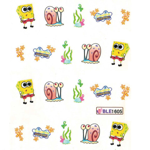 Nail Art Water Decal BLE1605 Spongebob Theme