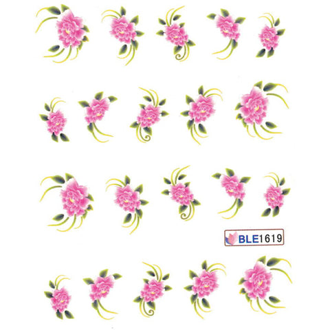 Nail Art Water Decal BLE1619 Pink Flowers