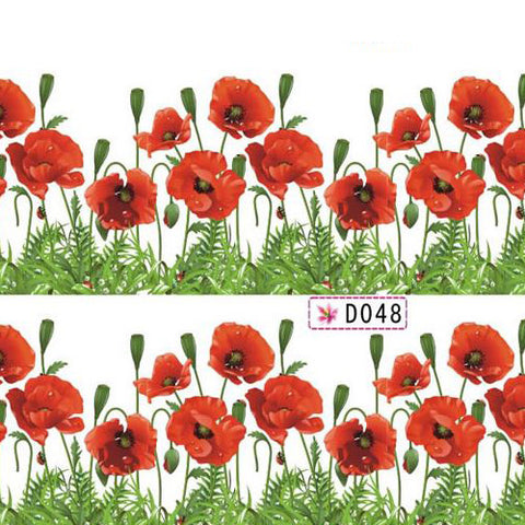Nail Art Water Decal with Red Poppies & Green Border