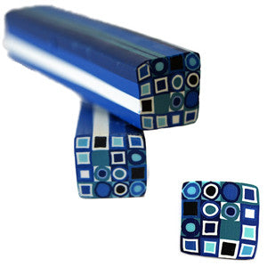 Blue & White Square Fimo No.80 to create 3D Nail art