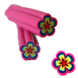 Neon Pink & Blue Flower Fimo No.27 Nail Art