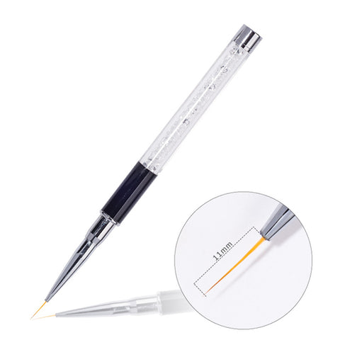 11mm Nail Art Liner Brush with crystal handle to draw lines, short strokes, delicate details and fill in colours on nail