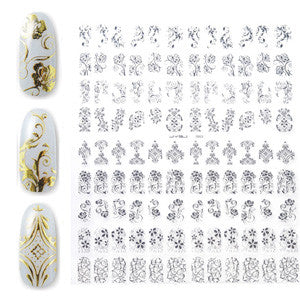 Gold Embossed Nail Art Sticker Sheet