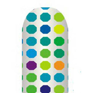 Multi-Coloured Dots on Silver Full Nail Foil Wrap Sheet