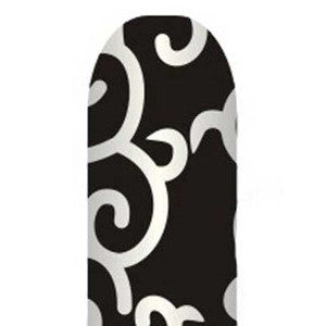 Silver Swirls on Black Full Nail Foil Wrap Sheet
