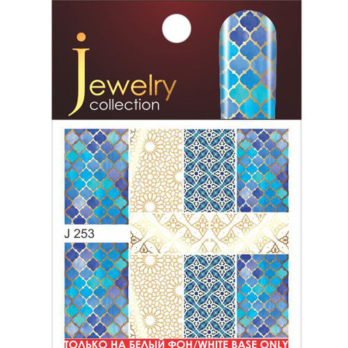 J253 Blue and Gold Water Transfer Nail Art Decal can be applies onto White LED UV Gel polish or nail varnish