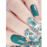 J255 Aqua and Gold Leaves Water Transfer Nail Art Decal can be applies onto LED UV Gel polish or nail varnish