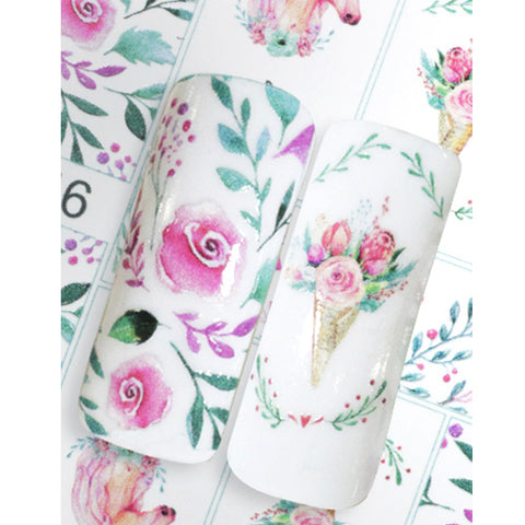 N1046 Unicorn and Pink Roses Water Transfer Nail Art Decal can be used on UV LED gel Polish or Nail varnish