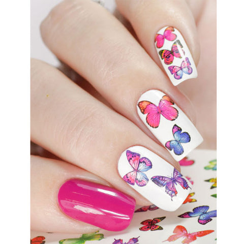 N1007P Multi Coloured Butterflies Water Transfer Nail Art Decal can be used on UV LED Gel polish or nail varnish