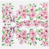 B141 3D Water Transfer Nail Art Decal Pink Flowers