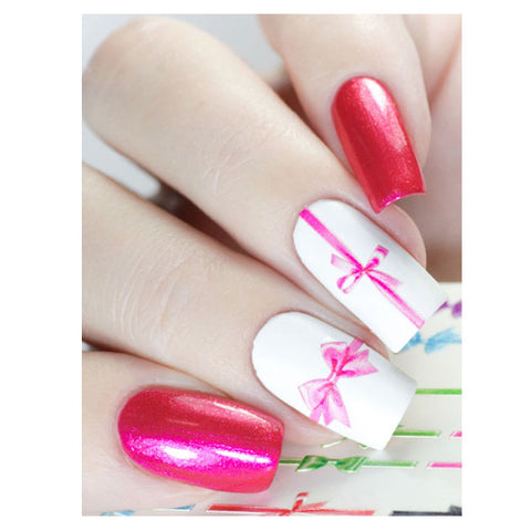 B06 3D Multi Coloured Bows Water Transfer Nail Art Decal use on nail varnish or gel polish.