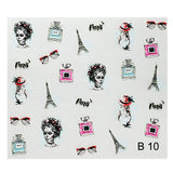 B10 3D Paris Theme Transfer Nail Art Decal use on nail varnish or gel polish.