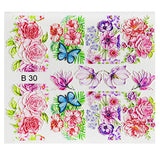 Milvart B30 Floral and Butterflies 3D Water Transfer Nail Art Decal use on nail varnish or gel polish.