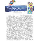 C03 Water Transfer Floral Nail Art Outline Decal use different colours to line and fill the entire design.