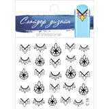 C16 Water Transfer Nail Art Outline Decal use different colours to line and fill the entire design.