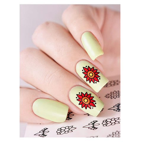 C17 Water Transfer Nail Art Outline Decal use different colours to line and fill the entire design.