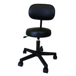 Black Gaslift Manicure Stool with Backrest