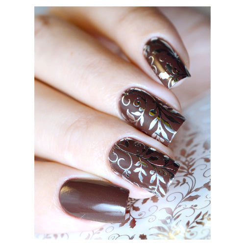 Milvart F135 Silver Leaves 3D Water Transfer Nail Art Decal use on nail varnish