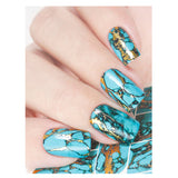 Milvart J174 Blue and Gold Marble Water Transfer Nail Art Decal used on nail varnish and gel polish.