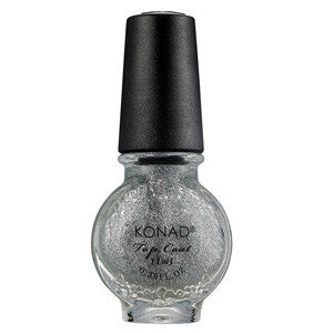 Konad Stamping Top Coat Glitter Silver 11ml for sealing nail art designs