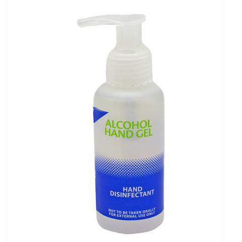 Alcohol hand gel in 100ml pump bottle contains 70% Ethanol with tea-tree emollients.