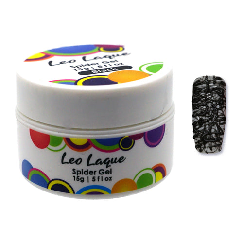 Leo Laque Black Spider Gel is an elastic rubber base which is used to create nail abstract lines, spider webs and shatter glass look in seconds