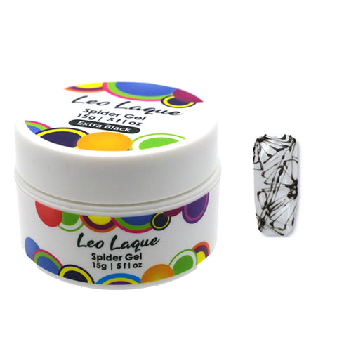 Leo Laque Extra Black Spider Gel is an elastic rubber base which is used to create nail abstract lines, spider webs and shatter glass look in seconds