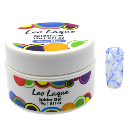 Leo Laque Neon Blue Spider Gel is an elastic rubber base which is used to create nail abstract lines, spider webs and shatter glass look in seconds