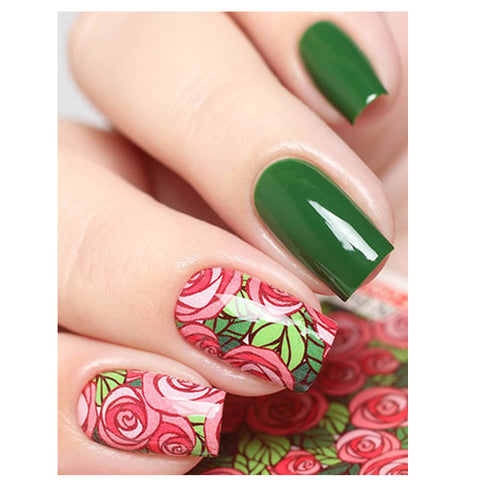 Milvart N649 Pink Roses on Green Leaves Transfer Nail Art Decal used on nail varnish and gel polish