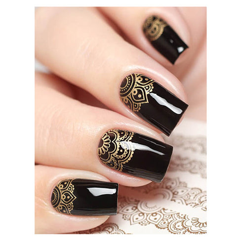 Milvart S328 Gold Transfer Nail Art Decal used on nail varnish and gel polish